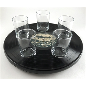 Recycled Record Flight Tray W/ Feet - No Glassware Included