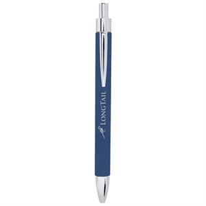 Blue/Silver Laserable Leatherette Pen