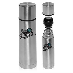 Cylindrical Insulated Vacuum Thermal Flasks Silver 18 oz.