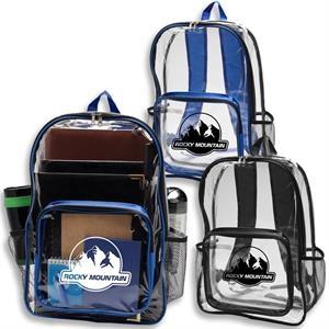 "Economy Clear Plastic Backpack w/ Mesh Pocket 13""W X 18""H"