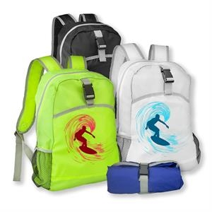 Lightweight Polyester Backpack w/ Two Side Mesh Pockets