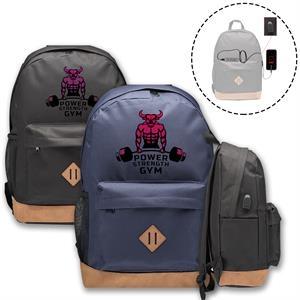 USB Port Laptop Backpack w/ Side Mesh & Fabric Pocket