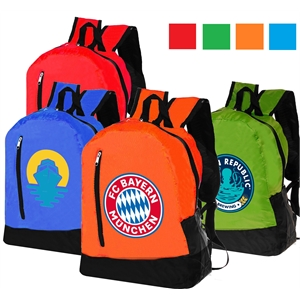 Promotional Adventure Backpack w/ Vertical Front Zip Pocket