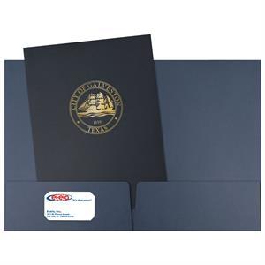 Linen paper 2-pocket presentation folder