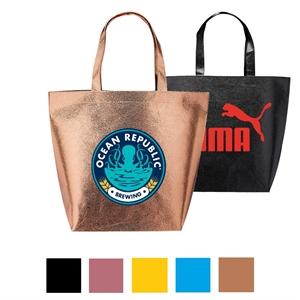 Metallic Tote Bags - Non Woven Tote Bag w/ Custom Imprint