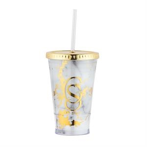 Drinkware with white and gold marble inserts