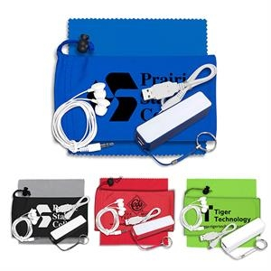 Mobile Tech Power Bank Accessory Kit with Earbuds in Pouch