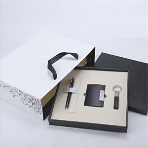 Wooden Gift box set leather key ring PU leather card holder