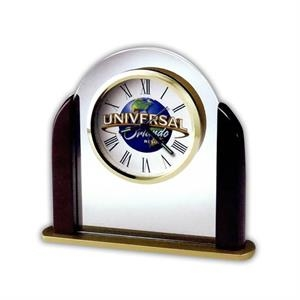 Derrick - Glass Arch Tabletop Alarm Clock With Satin Rosewood Finished Sides And Custom Dial