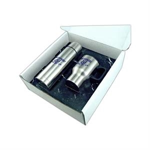 Thermos And Stainless Coffee Mug Gift Set In White Gift Box