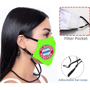 3-Layer Lanyard Face Mask w/ Full Color Imprint Adjustable