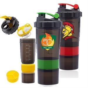 Sports Bottles - 17 oz Compartment Shaker Bottles Anti-slip