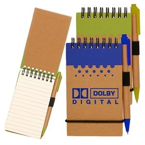 Two-Tone Spiral Notepad w/ Pen Recyclable Pocket Jotters