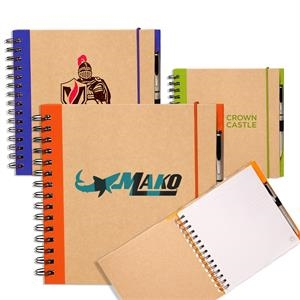 Recycled Spiral Notebooks w/ Elastic Band and Pen Loop