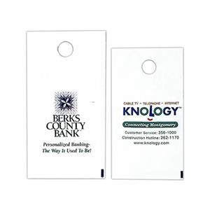 "1 Color - White Custom Printed Plastic Door Hanger Bag, 7 3/4"" X 14"""