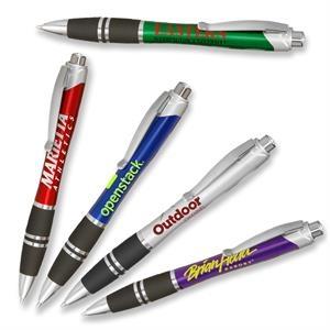 Silver Accent Plastic Pens w/ Rubber Grips & Colorful barrel