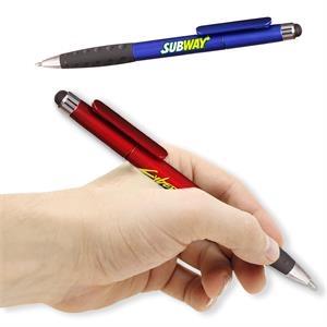 Twist Plastic Pens w/ Rubber Grip & Stylus Top Ballpoint Pen