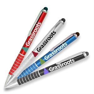 Twist Action Metal Pens w/ Stylus & Chrome Accent 2-in-1 Pen
