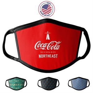Face Mask, Sublimated Custom Antimicrobial PPE Made in USA