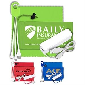 Mobile Tech Power Bank Accessory Kit w/ Cloth in Cinch Pouch