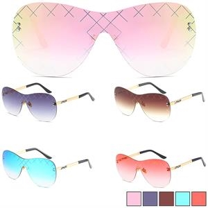 Frameless Fashion Sunglasses w/ Colorful Lens