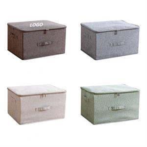 Foldable Storage Bin Cube with Zipper Lid and Handles