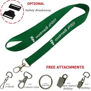 Bamboo Lanyard, Recycled PET Custom Imprint ID Badge Holder