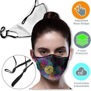 3-Layer Face Mask w/ Full Color Logo Adjustable Masks