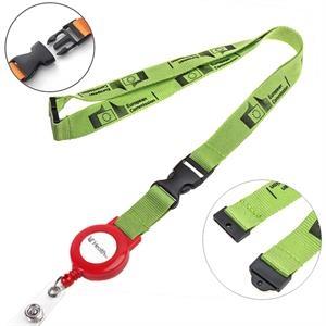 Polyester Lanyard Badge Reel Combo w/ Safety Break & Buckle