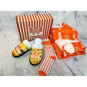 Custom box, Dress/Athletic Socks, Cozy Blanket & Slippers