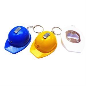 Bottle Opener Key Chain Of Construction Hat Shape Led Light