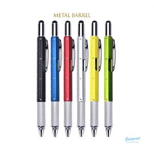 6-in-1 Stylus Twist Tool Pen- Metal barrel
