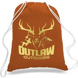 "Sporty Canvas Drawstring Backpack  w/ Custom Logo 14"" X 18"""