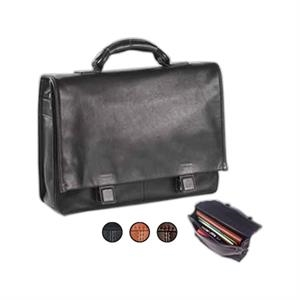 Tuscan - Leather Flap Briefcase With Hidden Slide Buckles And Wrapped Top Handle