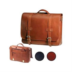 Executive - Leather Flap Porthole Briefcase With Extensive Interior Organizers