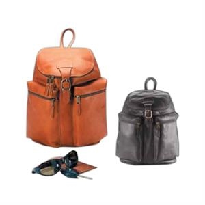 Leather Zip Top Backpack With Two Exterior Zip Pockets And Lightly Padded Straps