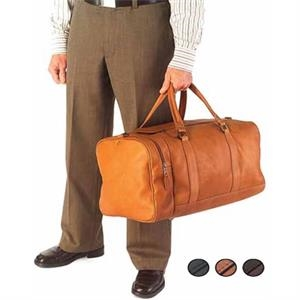 Leather One Pocket Duffel Bag With Fully Lined Main Body And Interior Zipper Pocket