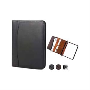 "Quinley - Leather Zip Padfolio With 8.5"" X 11"" Writing Tablet And Full Length Vertical Pocket"