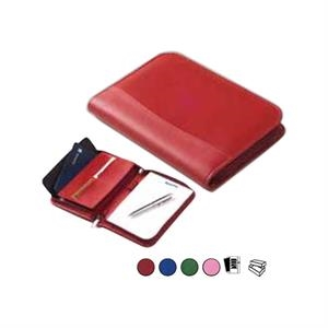 "Colored Leather Junior Padfolio, Holds 5"" X 8"" Writing Pad, Zips Shut"