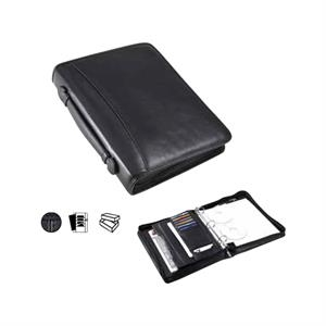 Leather Ring Top Handle Padfolio With Three Ring Binder And Writing Tablet