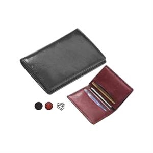 Glazed Leather Business Card Wallet With Gusseted Pocket On One Side
