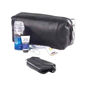 Leather Collapsible Snap Shave/cosmetic Kit, Fully Lined