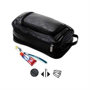 Leather Expandable Toiletry Case With Easy Access Zip Opening
