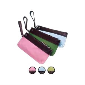 Colored Leather Wristlet Pouch With Cafe Brown Leather Accents And Piping