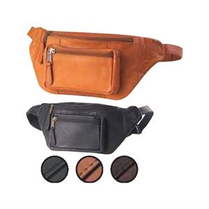 Kangaroo Pouch - Large Leather Hip Pack With Front And Back Zipper Compartments