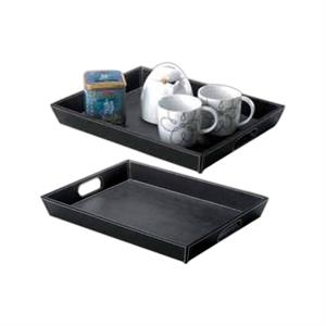Leather Serving Tray With Cut Out Handles And Contrast Stitch Detailing