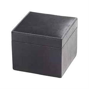 Leather Cube Box With Hinged Lid, Black Suede Lining And Contrast Stitching