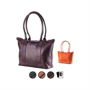Zip Top Shopper Bag With Zipper Pocket, Card Slots And Cell Phone Pocket