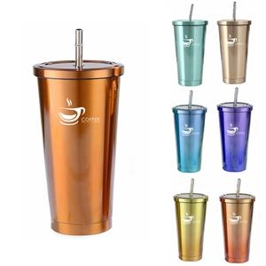 Stainless Steel Cold/Hot Cup Tumbler With Straw