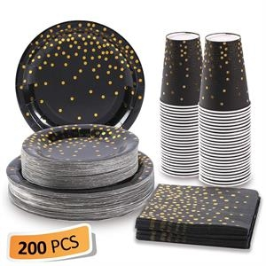 Black and Gold Paper Plates and Napkins set